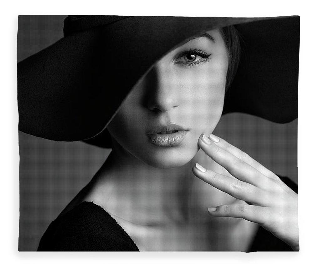 People Fleece Blanket featuring the photograph Photo Of Beautiful Woman In Retro Style by Coffeeandmilk