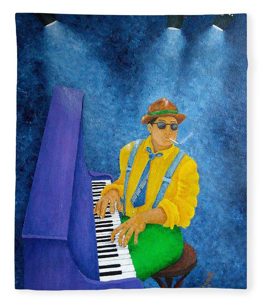 Pamela Allegretto Fleece Blanket featuring the painting Piano Man by Pamela Allegretto