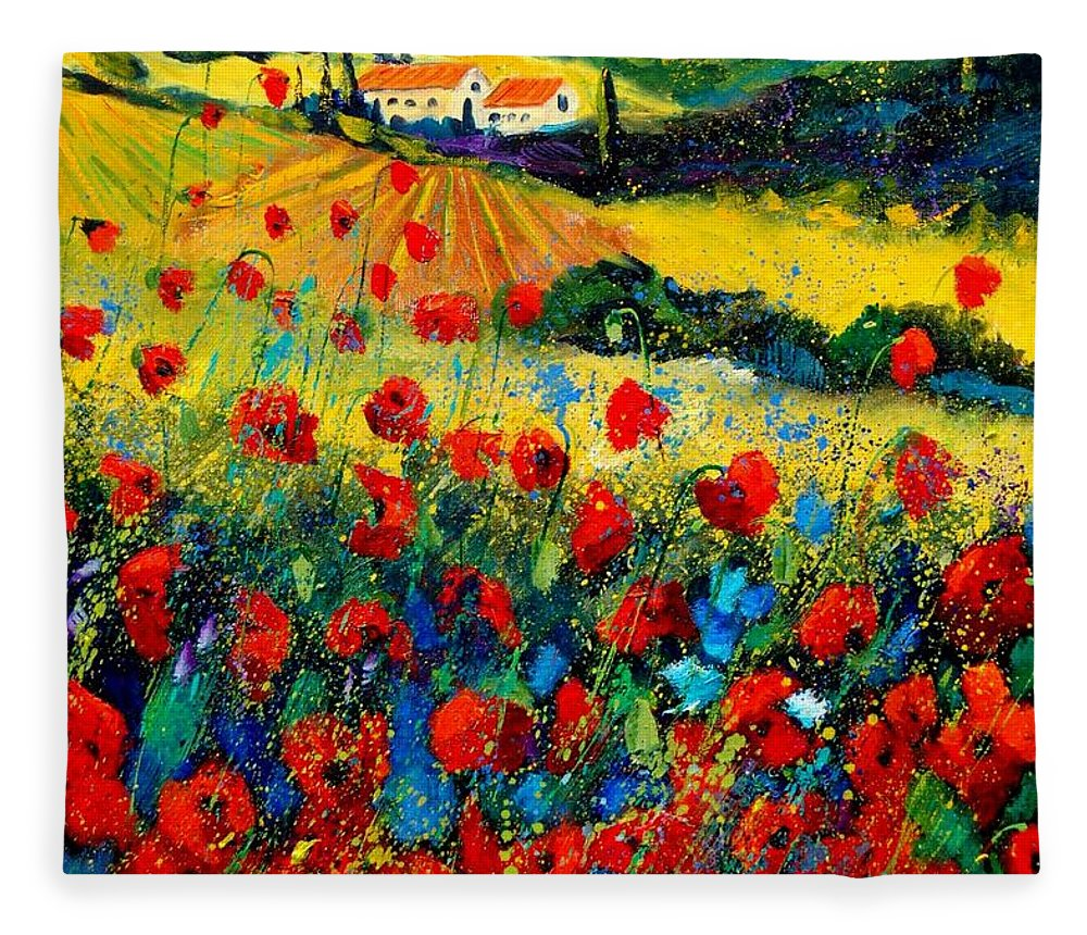 Flowersn Landscape Fleece Blanket featuring the painting Poppies in Tuscany by Pol Ledent