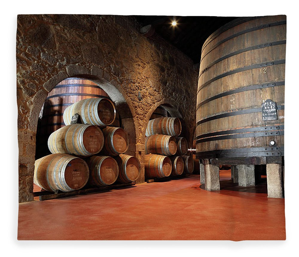 Fermenting Fleece Blanket featuring the photograph Porto Wine Cellar by Vuk8691