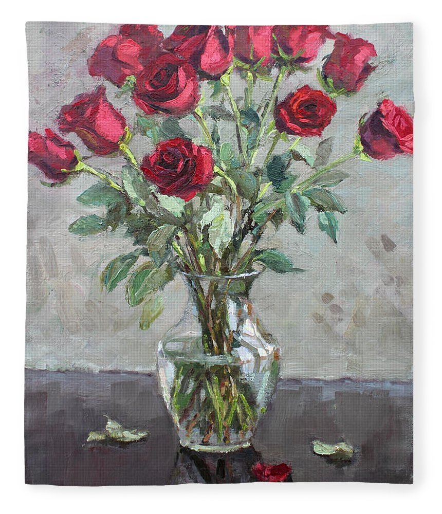 Red Roses Fleece Blanket featuring the painting Red Roses by Ylli Haruni