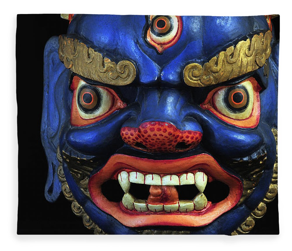 Colorful Fleece Blanket featuring the photograph Sikkim Dance Mask, India by Theodore Clutter