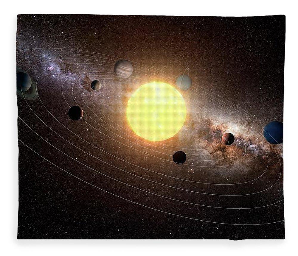 Black Background Fleece Blanket featuring the digital art Solar System, Artwork by Sciepro