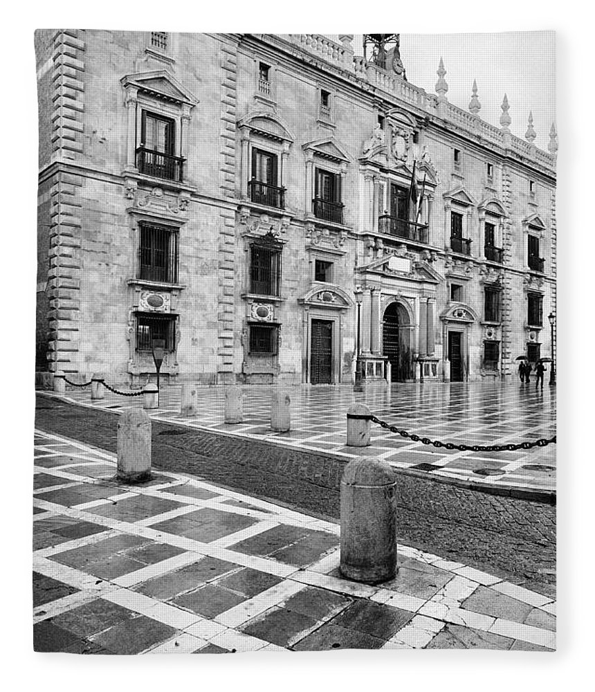 Monochrome Fleece Blanket featuring the photograph The Royal Chancery Of Granada by Guido Montanes Castillo