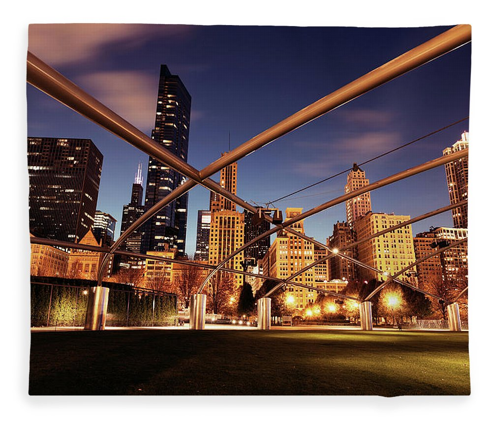 Downtown District Fleece Blanket featuring the photograph Usa, Illinois, Chicago, Cityscape by Henryk Sadura