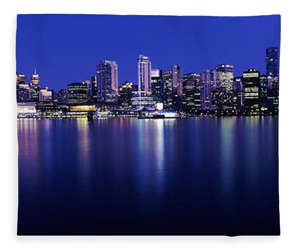 Photography Fleece Blanket featuring the photograph Vancouver Skyline At Night, British by Panoramic Images