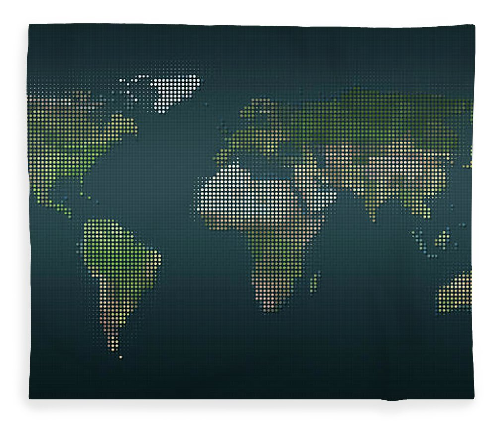 Panoramic Fleece Blanket featuring the digital art World Map In Dots Against An Abstract by Ralf Hiemisch