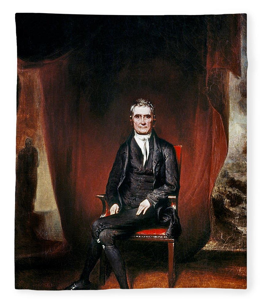 1832 Fleece Blanket featuring the painting John Marshall (1755-1835) by Granger