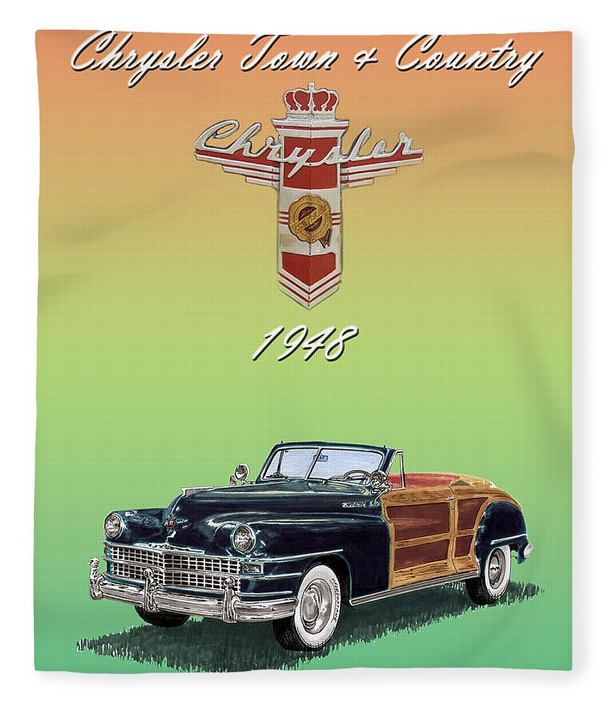 Framed Posters Of Chrysler Town & Country Convertibles.images Of 1941 Plymouth Woodies. Framed Photography Art Of Woody�s. Prints Of Cool Wood-paneled Station Wagons. Wrecked 1946 Ford Woody�s. Prints Of 1941 Plymouth Woodies. Prints Of 1941 Chrysler Town & Country Convertibles. Prints Of 1948 Ford Sportsmen Convertibles. Prints Of 1950 Ford Woody�s. Fleece Blanket featuring the painting 1948 Chrysler Town And Country by Jack Pumphrey