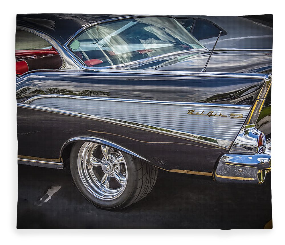 V8 Engine Fleece Blanket featuring the photograph 1957 Chevrolet Bel Air 3 by Rich Franco
