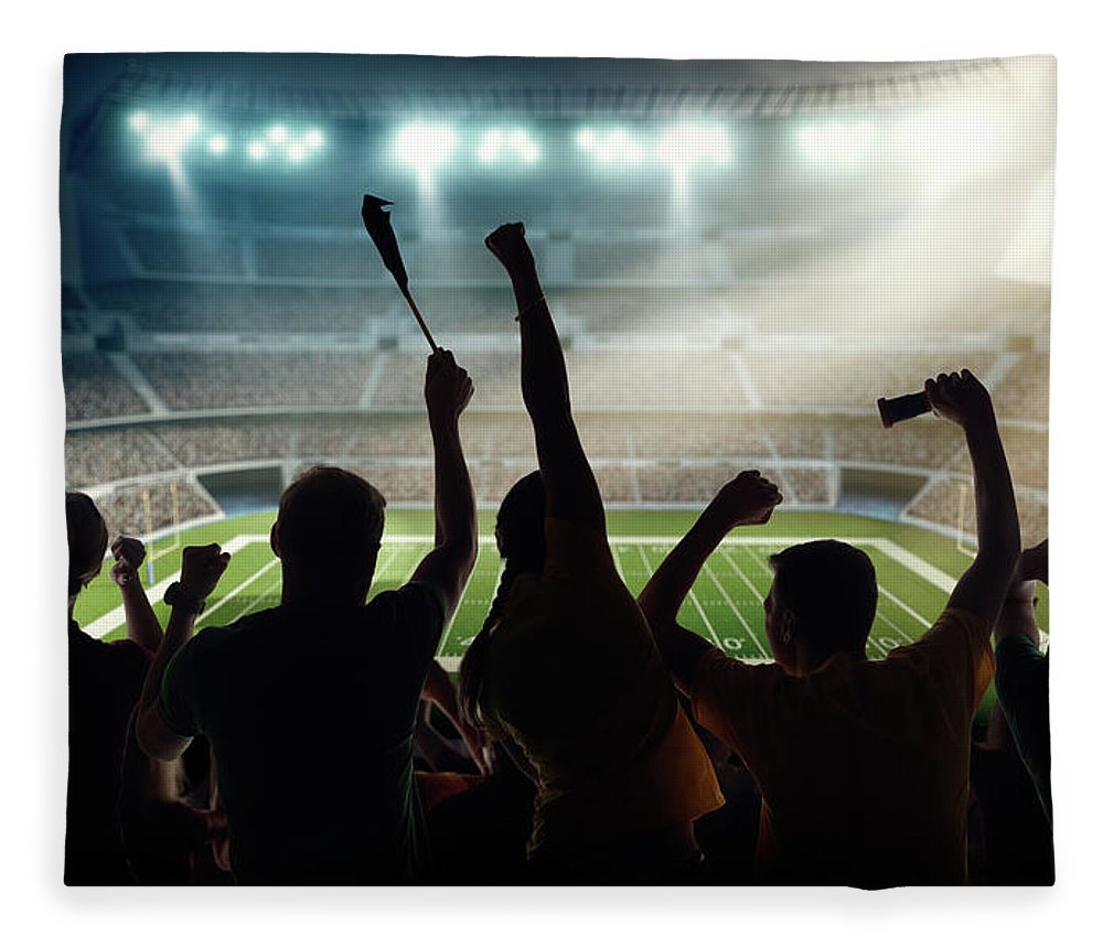 Event Fleece Blanket featuring the photograph American Football Fans At Stadium by Dmytro Aksonov