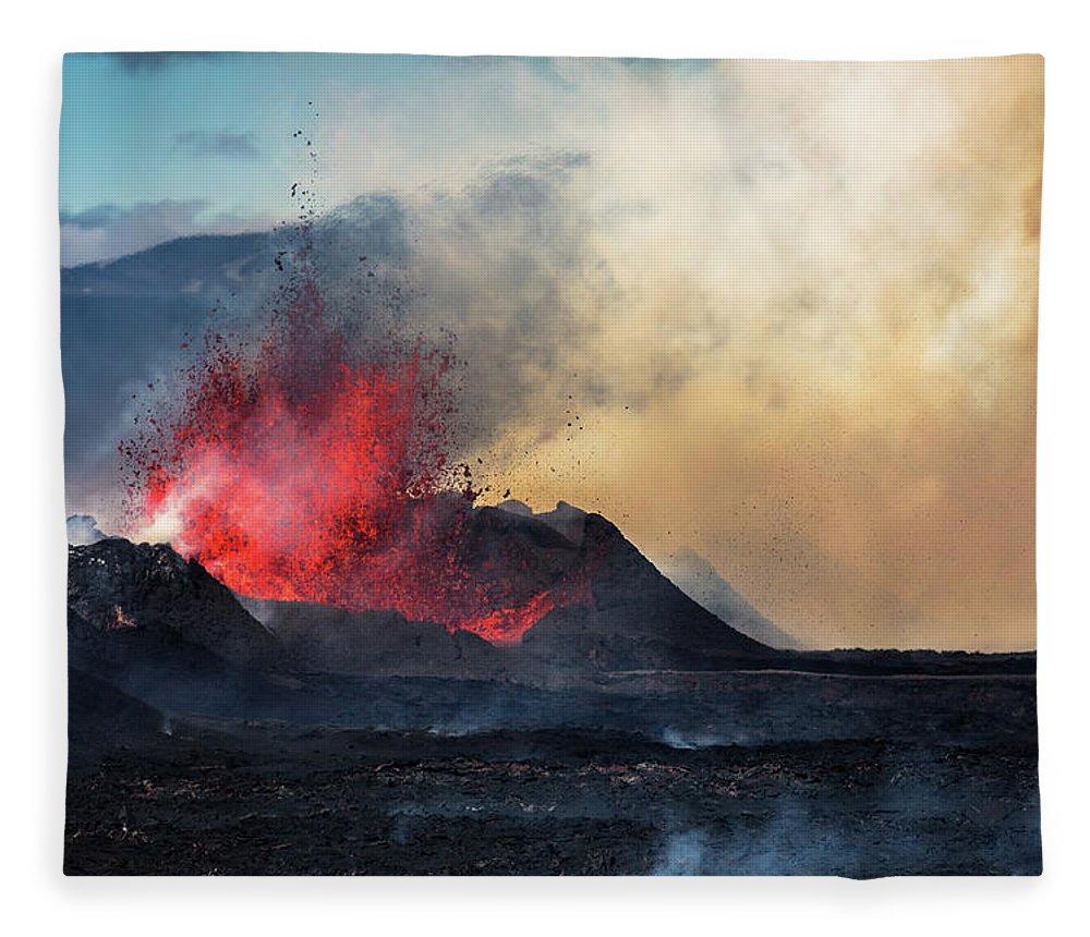 Extreme Terrain Fleece Blanket featuring the photograph Eruption, Holuhraun, Bardarbunga by Arctic-images