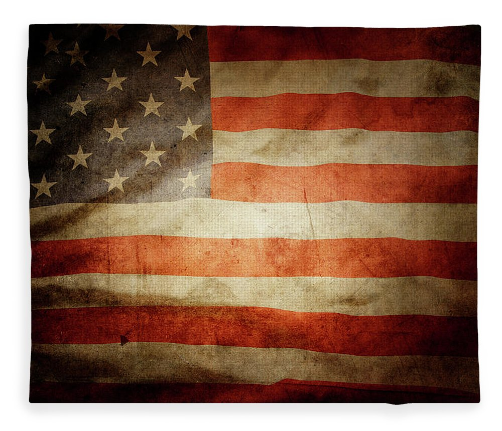 Flag Fleece Blanket featuring the photograph American Flag Rippled by Les Cunliffe