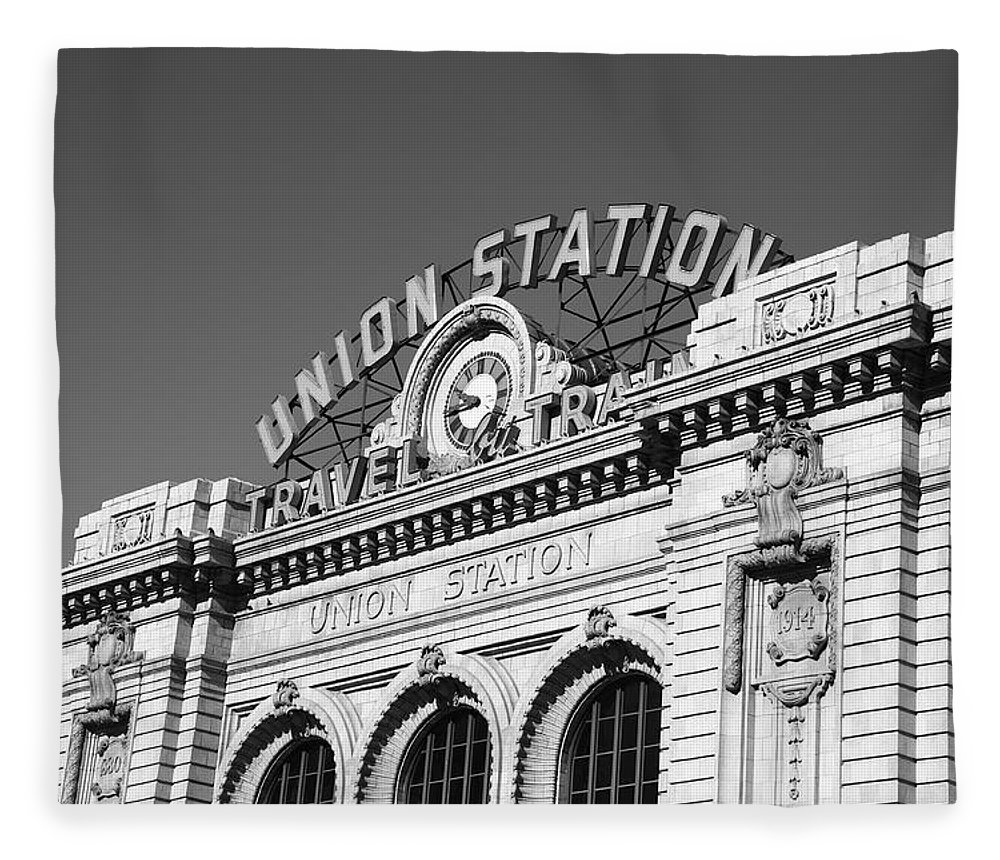 America Fleece Blanket featuring the photograph Denver - Union Station by Frank Romeo