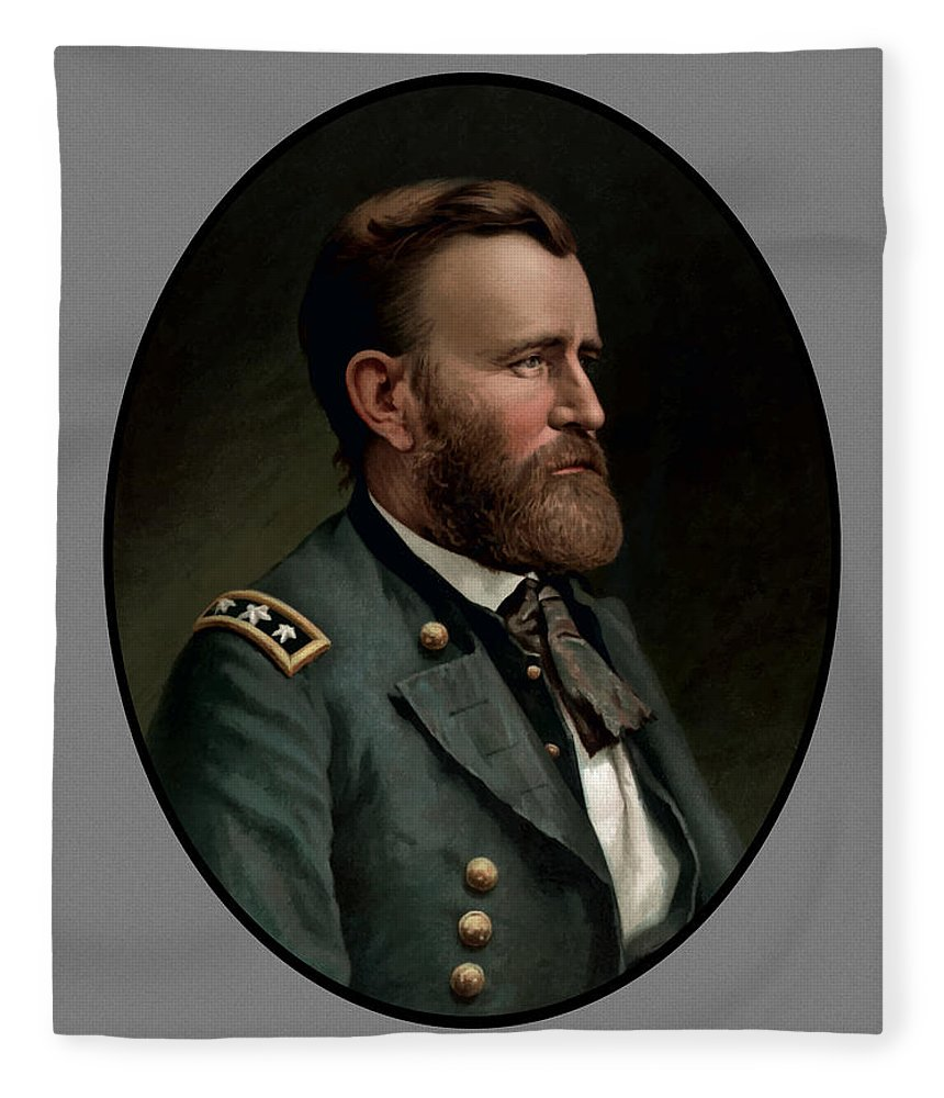 Civil War Fleece Blanket featuring the painting General Grant - Three by War Is Hell Store