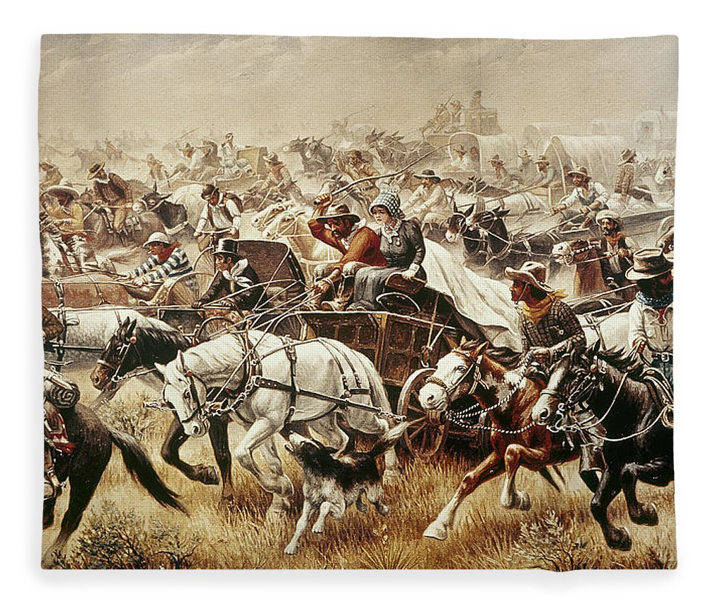 1889 Fleece Blanket featuring the painting Oklahoma Land Rush, 1889 by Granger