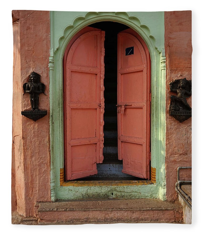 Description Fleece Blanket featuring the photograph Old Doors India, Varanasi by Stereostok