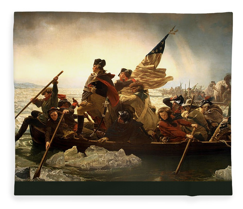 George Washington Fleece Blanket featuring the photograph Washington Crossing the Delaware by Emanuel Leutze