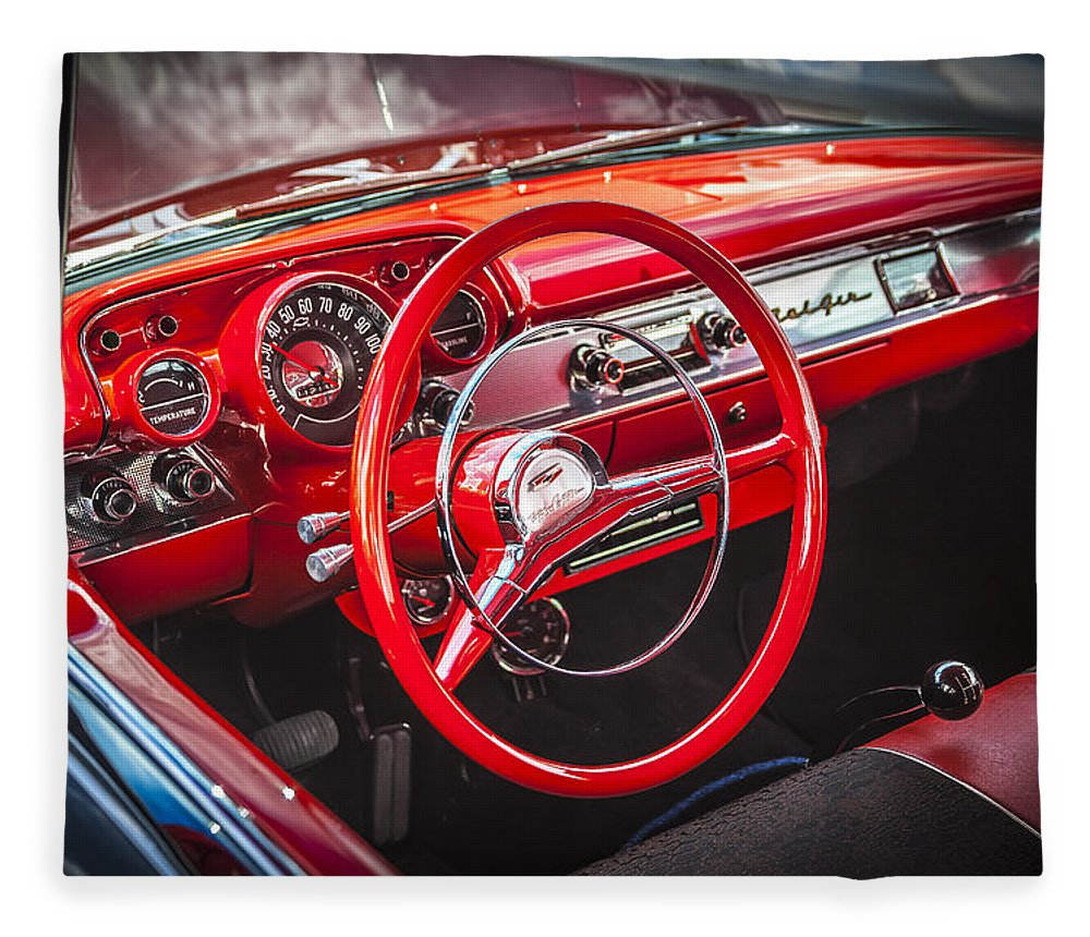 V8 Engine Fleece Blanket featuring the photograph 1957 Chevrolet Bel Air by Rich Franco
