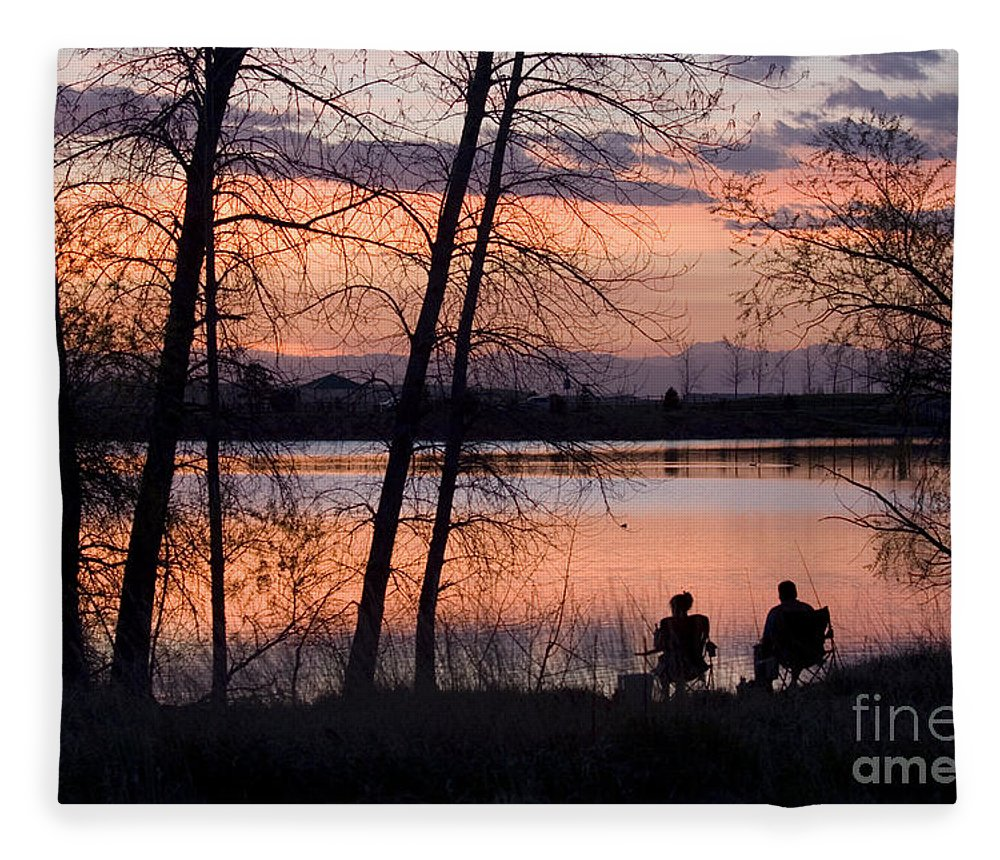 Colorado Fleece Blanket featuring the photograph Fly Fishing At Sunset by Steve Krull