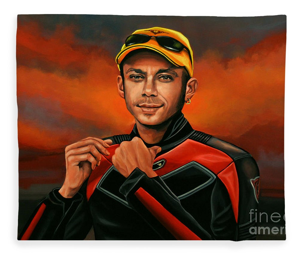 Valentino Rossi Fleece Blanket featuring the painting Valentino Rossi by Paul Meijering