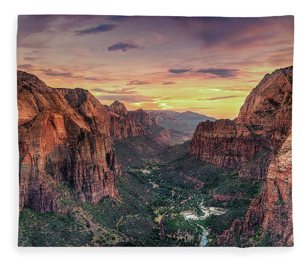 Scenics Fleece Blanket featuring the photograph Zion Canyon National Park by Michele Falzone