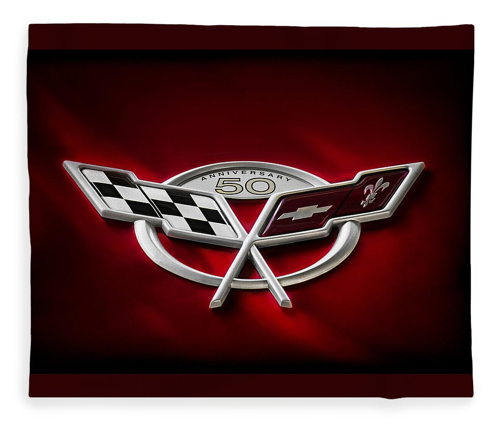 Corvette Fleece Blanket featuring the digital art 50th Anniversary by Douglas Pittman