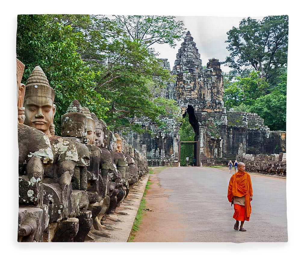 Cambodia Fleece Blanket featuring the photograph 54 Gods And A Monk by David Freuthal