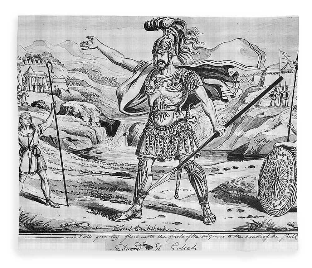 19th Century Fleece Blanket featuring the drawing David And Goliath by Granger
