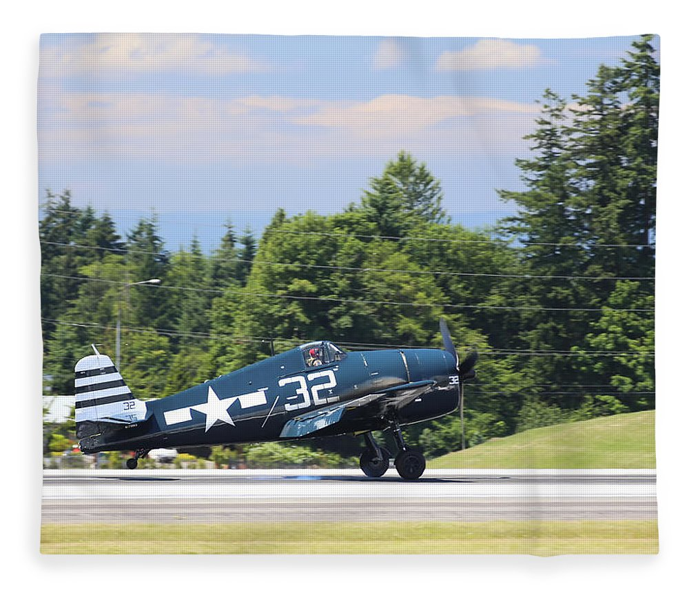 Grumman Fleece Blanket featuring the photograph Grumman Hellcat by Paul Fell