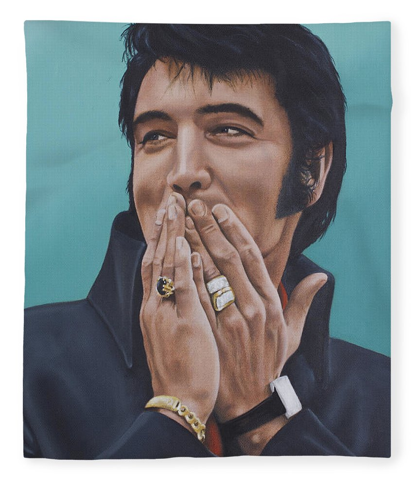Elvis Fleece Blanket featuring the painting 69 Press Conference by Rob De Vries