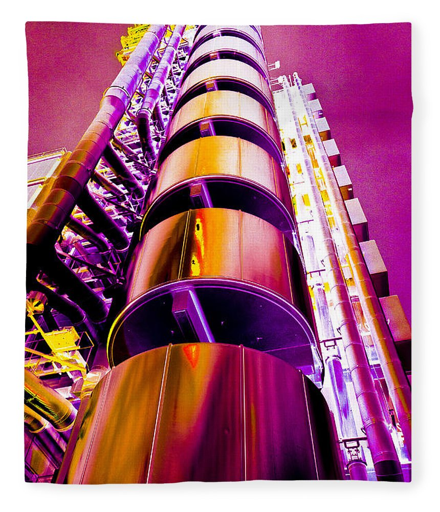 Lloyd's Fleece Blanket featuring the digital art Lloyd's Building London Art by David Pyatt