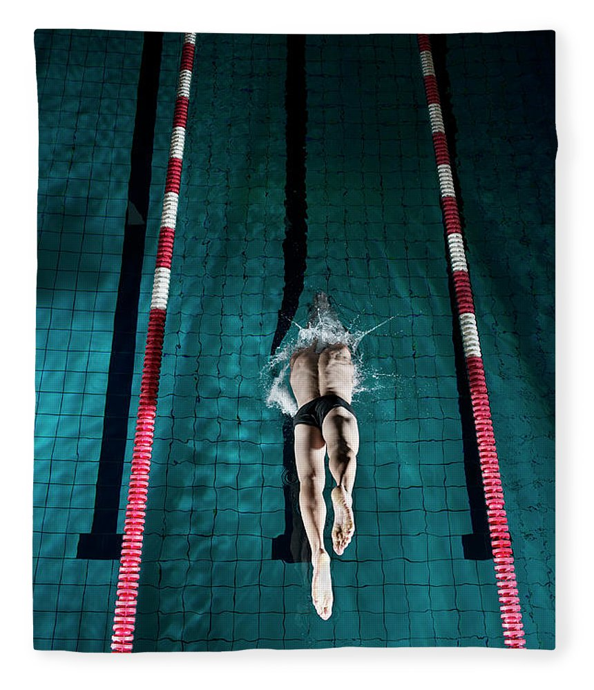 Copenhagen Fleece Blanket featuring the photograph Professional Swimmer by Henrik Sorensen