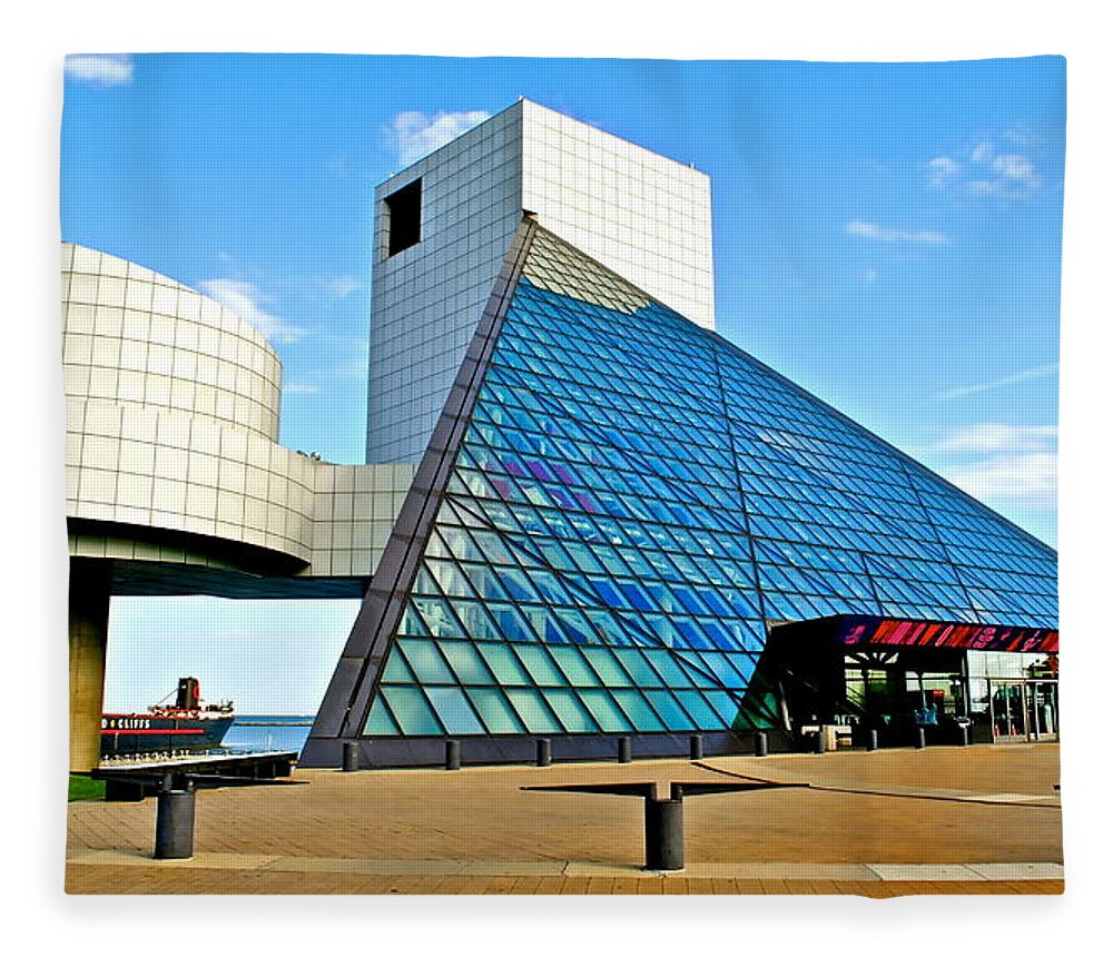 Rock Fleece Blanket featuring the photograph Rock and Roll Hall of Fame by Frozen in Time Fine Art Photography