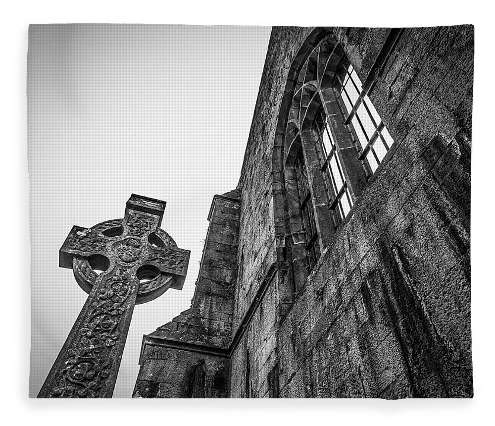 13th Century Fleece Blanket featuring the photograph 700 Years Of Irish History At Quin Abbey by James Truett