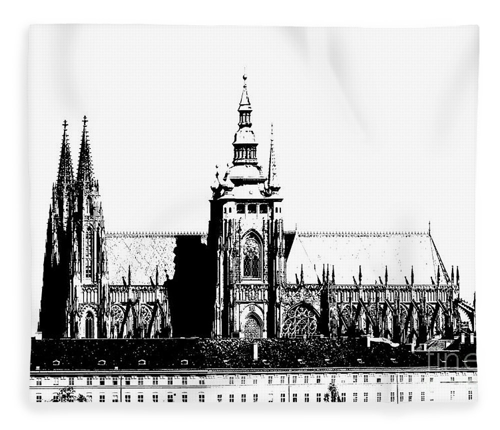 Hradcany Fleece Blanket featuring the digital art Cathedral Of St Vitus by Michal Boubin