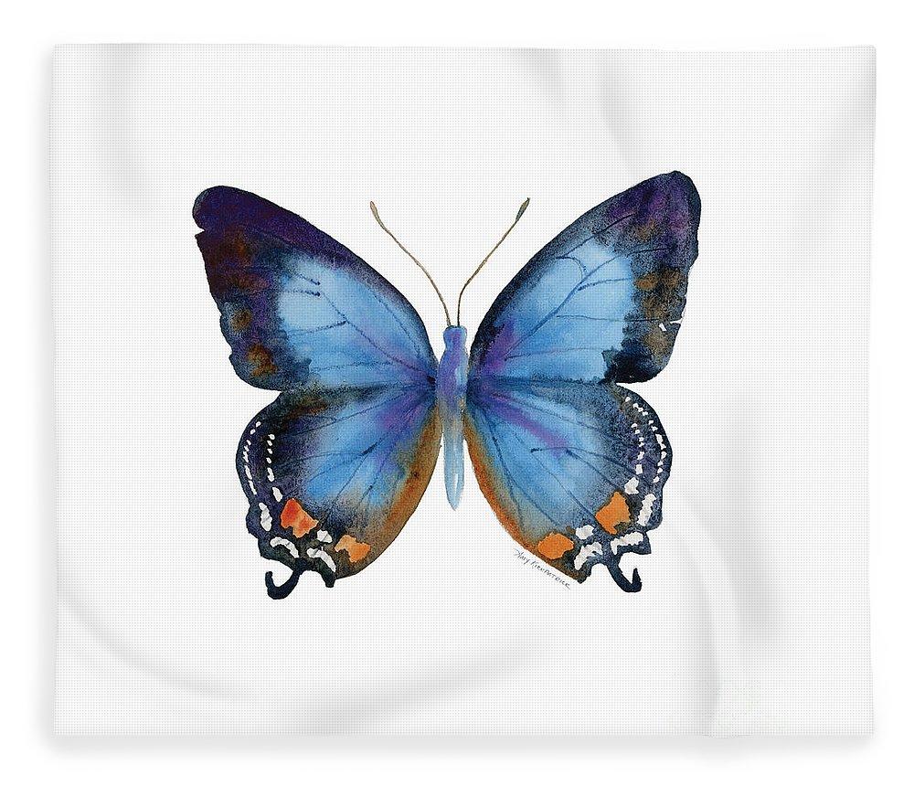 Imperial Blue Butterfly Fleece Blanket featuring the painting 80 Imperial Blue Butterfly by Amy Kirkpatrick