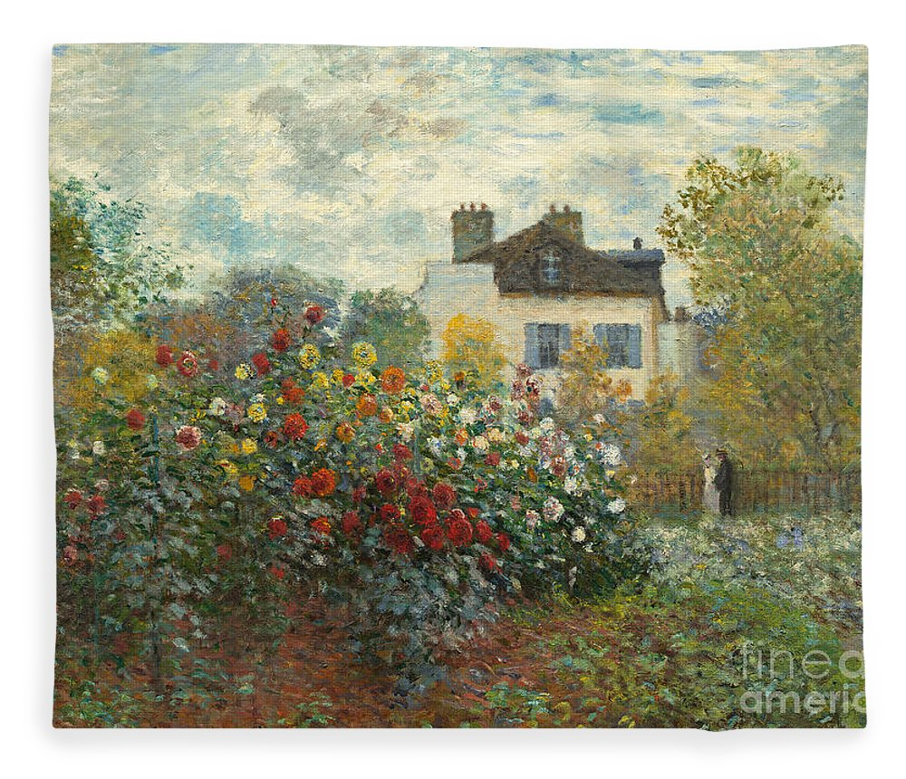 French Fleece Blanket featuring the painting A Corner Of The Garden With Dahlias by Claude Monet