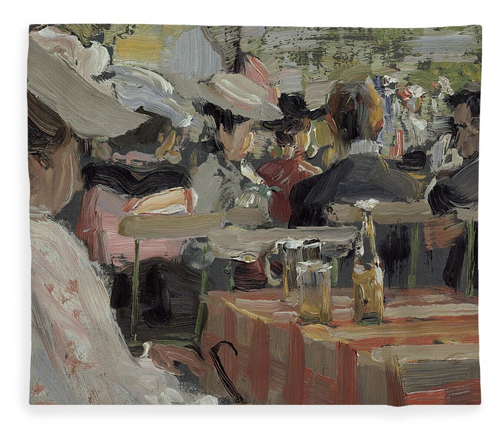 Gartenwirtschaft; Society; Dining; Tables; Cafe; Open Air; Al Fresco; Table; Chairs; Eating; Leisure; Edwardian; Outdoors; Outdoor Fleece Blanket featuring the painting A Garden Restaurant by August Heitmuller