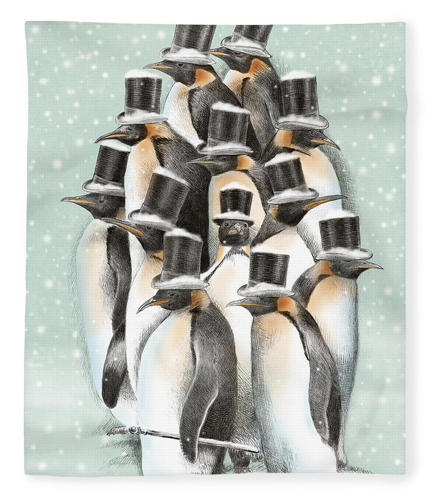 Penguins Fleece Blanket featuring the drawing A Gathering in the Snow by Eric Fan
