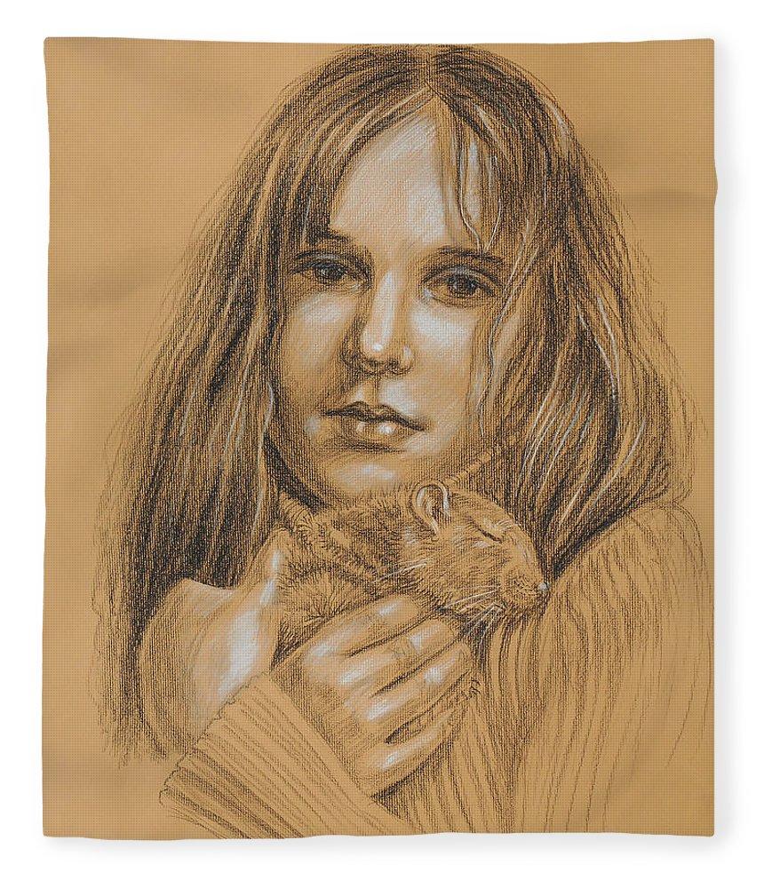 Girl Fleece Blanket featuring the drawing A Girl With The Pet by Irina Sztukowski