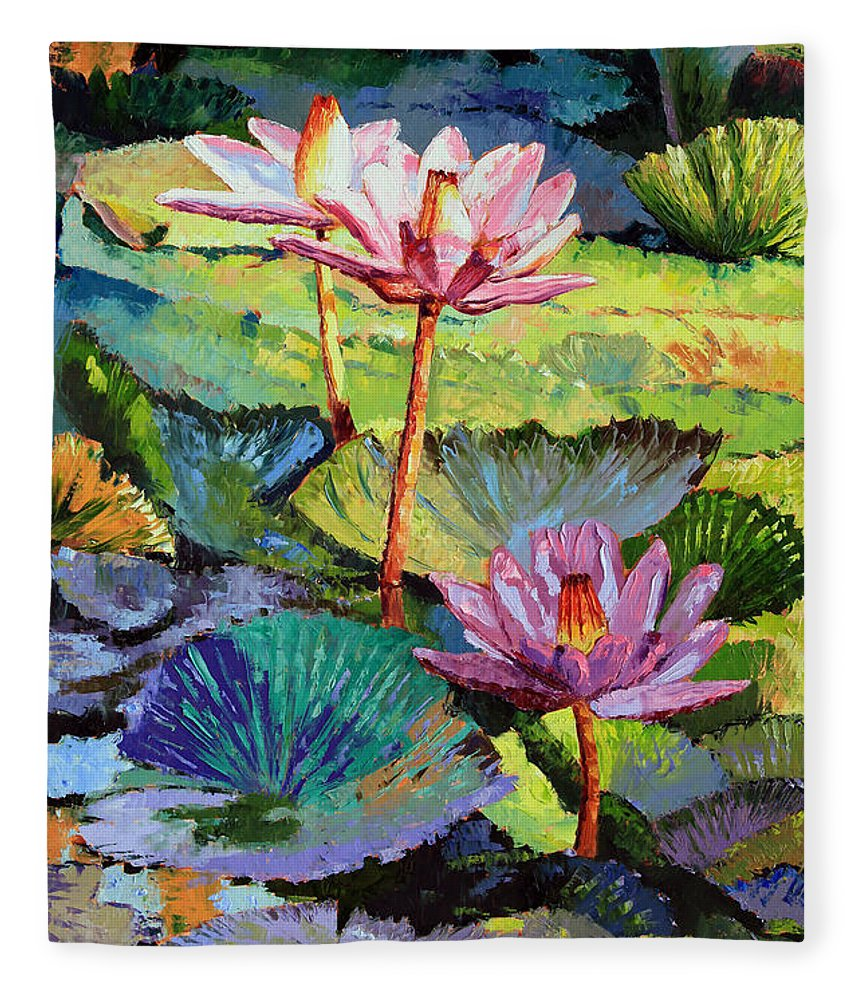 Water Lilies Fleece Blanket featuring the painting A Moment In Sunlight by John Lautermilch