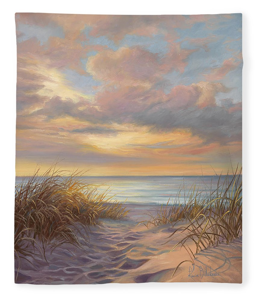 Beach Fleece Blanket featuring the painting A Moment Of Tranquility by Lucie Bilodeau