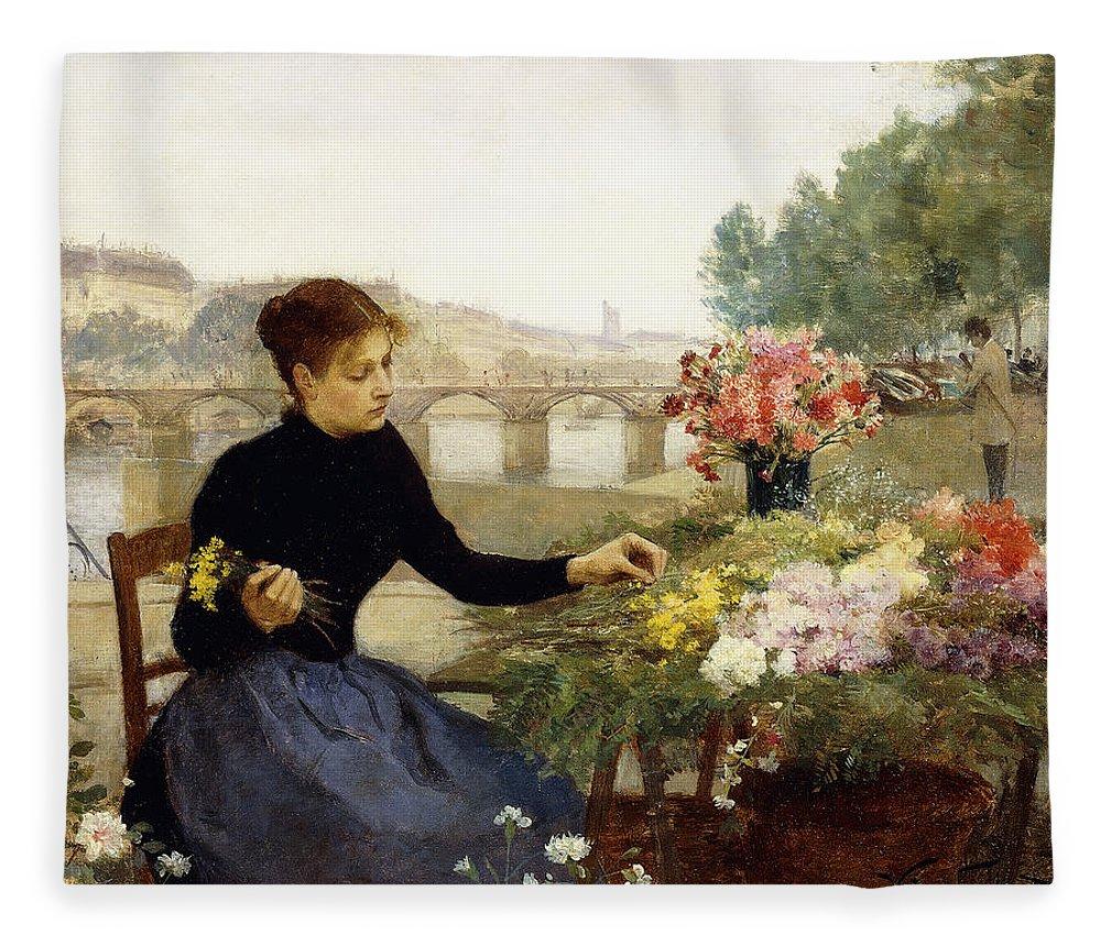 Victor Gabriel Gilbert Fleece Blanket featuring the painting A Parisian Flower Market by Victor Gabriel Gilbert