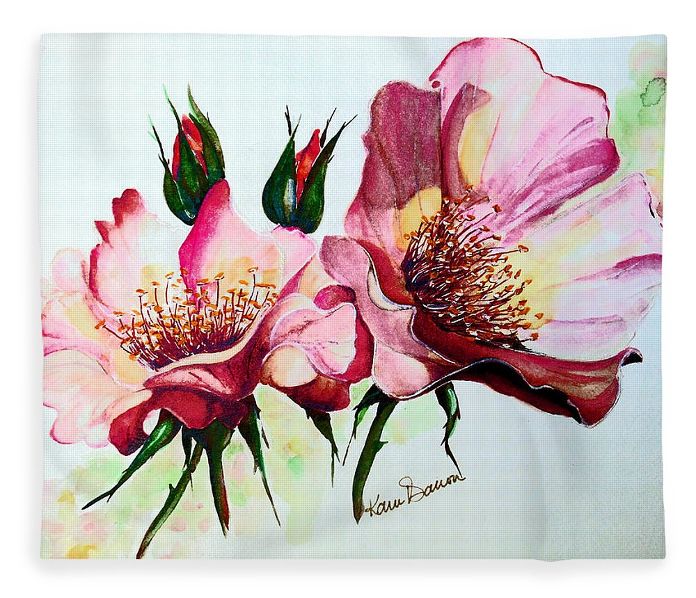 Flower Painting Fleece Blanket featuring the painting A Rose Is A Rose by Karin Dawn Kelshall- Best