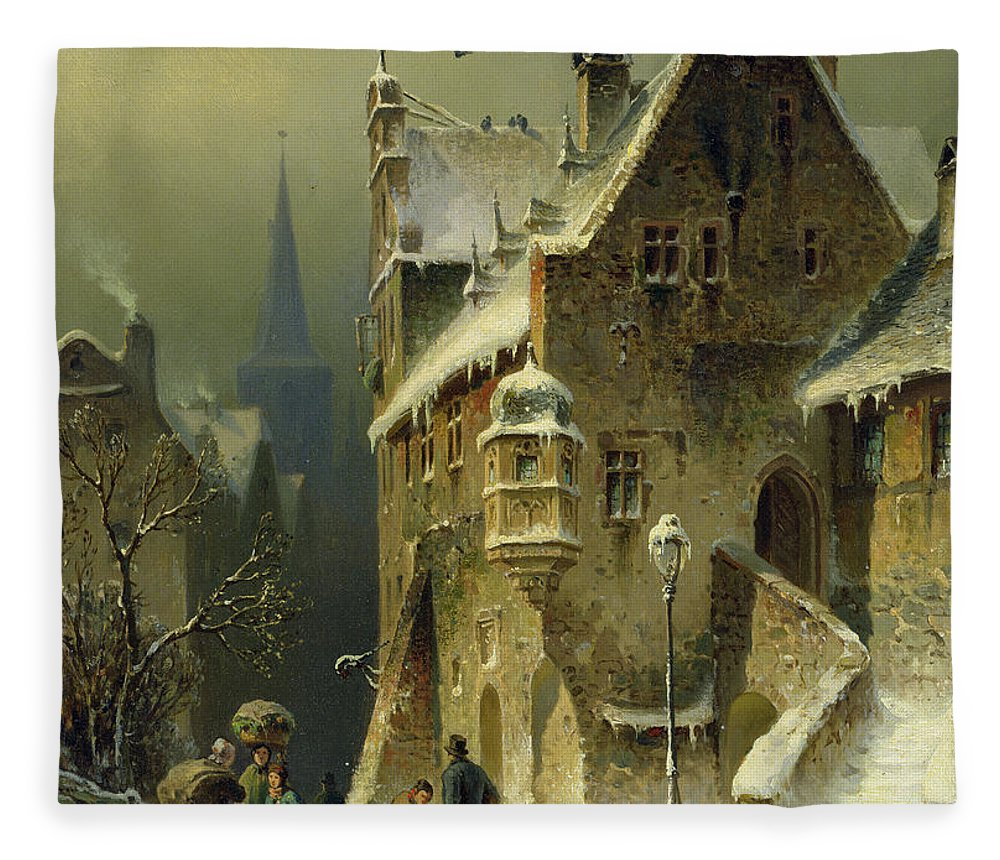 Schlieker Fleece Blanket featuring the painting A Small Town in the Rhine by August Schlieker