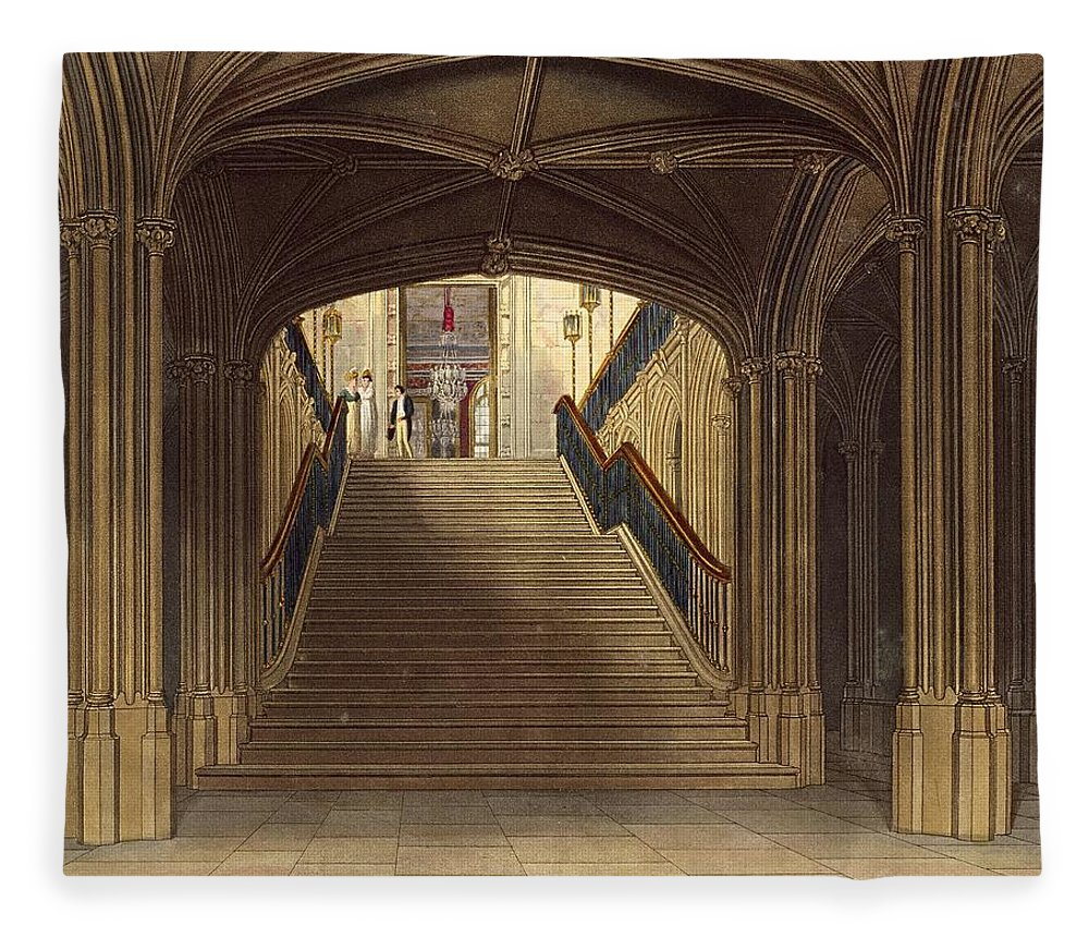 Step Fleece Blanket featuring the drawing A Staircase, Windsor Castle, From Royal by Charles Wild