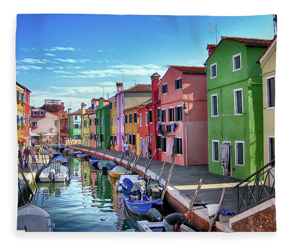 Tranquility Fleece Blanket featuring the photograph A Tour Of Burano by Diego Gutierrez