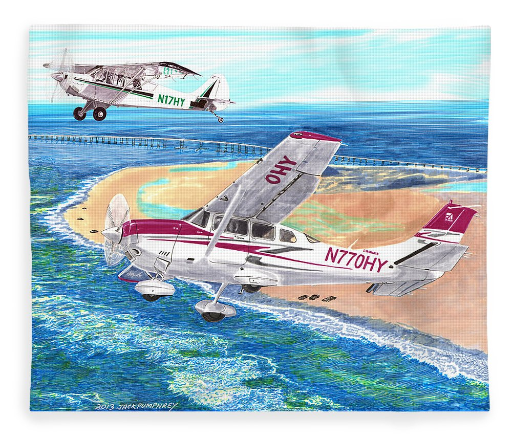 Watercolor Painting Of 2007 Cessna 206 And A1a Aviat Husky By Jack Pumphrey Fleece Blanket featuring the painting Cessna 206 And A1a Husky by Jack Pumphrey