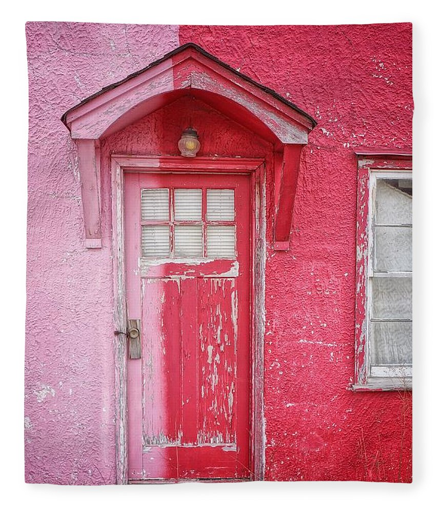 Built Structure Fleece Blanket featuring the photograph Abandoned Pink And Red House by Stan Strange / Eyeem